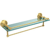 22 Inch Gallery Glass Shelf with Towel Bar, Unlacquered Brass