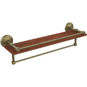 Monte Carlo Collection 22 Inch IPE Ironwood Shelf with Gallery Rail and Towel Bar, Antique Brass