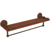 Monte Carlo Collection 22 Inch IPE Ironwood Shelf with Gallery Rail and Towel Bar, Antique Bronze