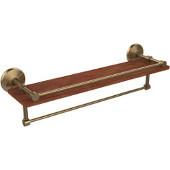 Monte Carlo Collection 22 Inch IPE Ironwood Shelf with Gallery Rail and Towel Bar, Brushed Bronze