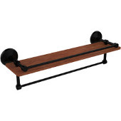 Monte Carlo Collection 22 Inch IPE Ironwood Shelf with Gallery Rail and Towel Bar, Matte Black