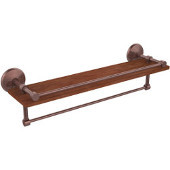 Monte Carlo Collection 22 Inch IPE Ironwood Shelf with Gallery Rail and Towel Bar, Antique Copper