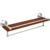 Monte Carlo Collection 22 Inch IPE Ironwood Shelf with Gallery Rail and Towel Bar, Polished Chrome