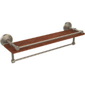 Monte Carlo Collection 22 Inch IPE Ironwood Shelf with Gallery Rail and Towel Bar, Antique Pewter