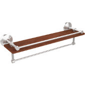 Monte Carlo Collection 22 Inch IPE Ironwood Shelf with Gallery Rail and Towel Bar, Satin Chrome