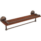 Monte Carlo Collection 22 Inch IPE Ironwood Shelf with Gallery Rail and Towel Bar, Venetian Bronze