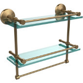Monte Carlo Collection 16''W Gallery Double Glass Shelf with Towel Bar in Brushed Bronze
