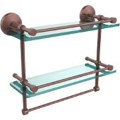 Monte Carlo Collection 16''W Gallery Double Glass Shelf with Towel Bar in Antique Copper