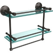 Monte Carlo Collection 16''W Gallery Double Glass Shelf with Towel Bar in Oil Rubbed Bronze