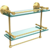 Monte Carlo Collection 16''W Gallery Double Glass Shelf with Towel Bar in Polished Brass