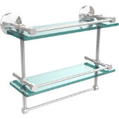 Monte Carlo Collection 16''W Gallery Double Glass Shelf with Towel Bar in Polished Chrome