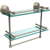 Monte Carlo Collection 16''W Gallery Double Glass Shelf with Towel Bar in Antique Pewter