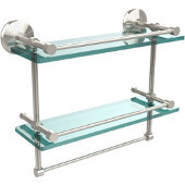Monte Carlo Collection 16''W Gallery Double Glass Shelf with Towel Bar in Polished Nickel