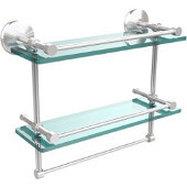 Monte Carlo Collection 16''W Gallery Double Glass Shelf with Towel Bar in Satin Chrome