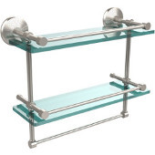 Monte Carlo Collection 16''W Gallery Double Glass Shelf with Towel Bar in Satin Nickel