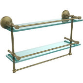 Monte Carlo Collection 22''W Gallery Double Glass Shelf with Towel Bar in Antique Brass