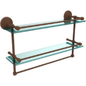 Monte Carlo Collection 22''W Gallery Double Glass Shelf with Towel Bar in Antique Bronze