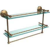 Monte Carlo Collection 22''W Gallery Double Glass Shelf with Towel Bar in Brushed Bronze