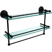 Monte Carlo Collection 22''W Gallery Double Glass Shelf with Towel Bar in Matte Black
