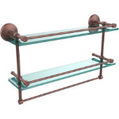 Monte Carlo Collection 22''W Gallery Double Glass Shelf with Towel Bar in Antique Copper