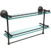 Monte Carlo Collection 22''W Gallery Double Glass Shelf with Towel Bar in Oil Rubbed Bronze