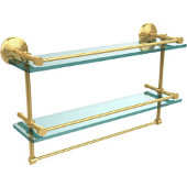 Monte Carlo Collection 22''W Gallery Double Glass Shelf with Towel Bar in Polished Brass