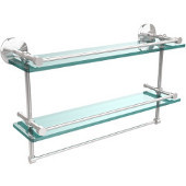 Monte Carlo Collection 22''W Gallery Double Glass Shelf with Towel Bar in Polished Chrome