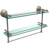 Monte Carlo Collection 22''W Gallery Double Glass Shelf with Towel Bar in Antique Pewter