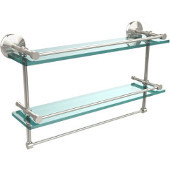 Monte Carlo Collection 22''W Gallery Double Glass Shelf with Towel Bar in Polished Nickel