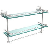 Monte Carlo Collection 22''W Gallery Double Glass Shelf with Towel Bar in Satin Chrome