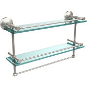 Monte Carlo Collection 22''W Gallery Double Glass Shelf with Towel Bar in Satin Nicke