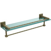 Montero Collection 22 Inch Gallery Glass Shelf with Towel Bar, Antique Brass
