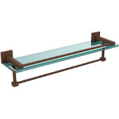 Montero Collection 22 Inch Gallery Glass Shelf with Towel Bar, Antique Bronze