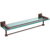 Montero Collection 22 Inch Gallery Glass Shelf with Towel Bar, Antique Copper