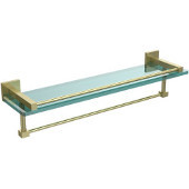 Montero Collection 22 Inch Gallery Glass Shelf with Towel Bar, Satin Brass