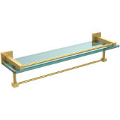 Montero Collection 22 Inch Gallery Glass Shelf with Towel Bar, Unlacquered Brass