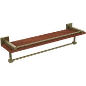 Montero Collection 22 Inch IPE Ironwood Shelf with Gallery Rail and Towel Bar, Antique Brass