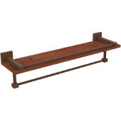 Montero Collection 22 Inch IPE Ironwood Shelf with Gallery Rail and Towel Bar, Antique Bronze