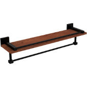Montero Collection 22 Inch IPE Ironwood Shelf with Gallery Rail and Towel Bar, Matte Black