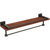 Montero Collection 22 Inch IPE Ironwood Shelf with Gallery Rail and Towel Bar, Oil Rubbed Bronze