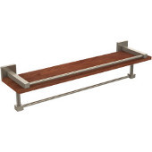 Montero Collection 22 Inch IPE Ironwood Shelf with Gallery Rail and Towel Bar, Antique Pewter