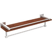 Montero Collection 22 Inch IPE Ironwood Shelf with Gallery Rail and Towel Bar, Satin Chrome