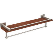 Montero Collection 22 Inch IPE Ironwood Shelf with Gallery Rail and Towel Bar, Satin Nickel