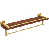 Montero Collection 22 Inch IPE Ironwood Shelf with Gallery Rail and Towel Bar, Unlacquered Brass