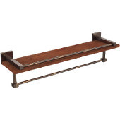 Montero Collection 22 Inch IPE Ironwood Shelf with Gallery Rail and Towel Bar, Venetian Bronze