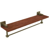 Montero Collection 22 Inch Solid IPE Ironwood Shelf with Integrated Towel Bar, Antique Brass