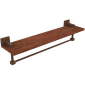 Montero Collection 22 Inch Solid IPE Ironwood Shelf with Integrated Towel Bar, Antique Bronze