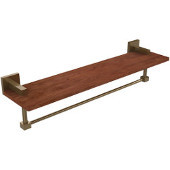 Montero Collection 22 Inch Solid IPE Ironwood Shelf with Integrated Towel Bar, Brushed Bronze