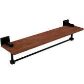 Montero Collection 22 Inch Solid IPE Ironwood Shelf with Integrated Towel Bar, Matte Black