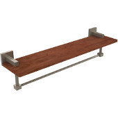Montero Collection 22 Inch Solid IPE Ironwood Shelf with Integrated Towel Bar, Antique Pewter